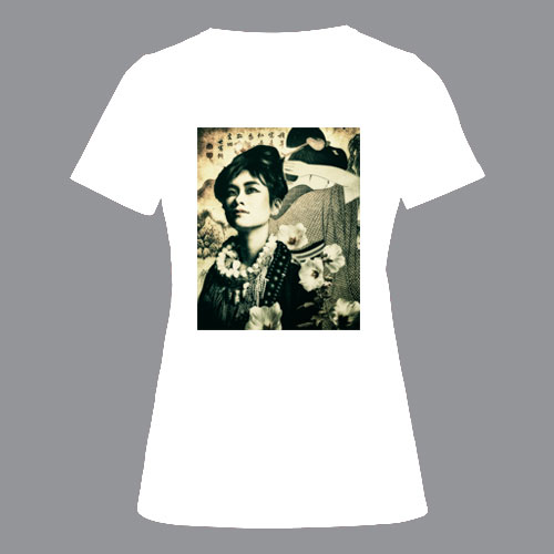 T-shirt dames, wit, geisha-01