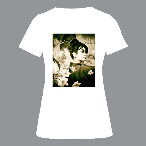 T-shirt dames, wit, geisha-02