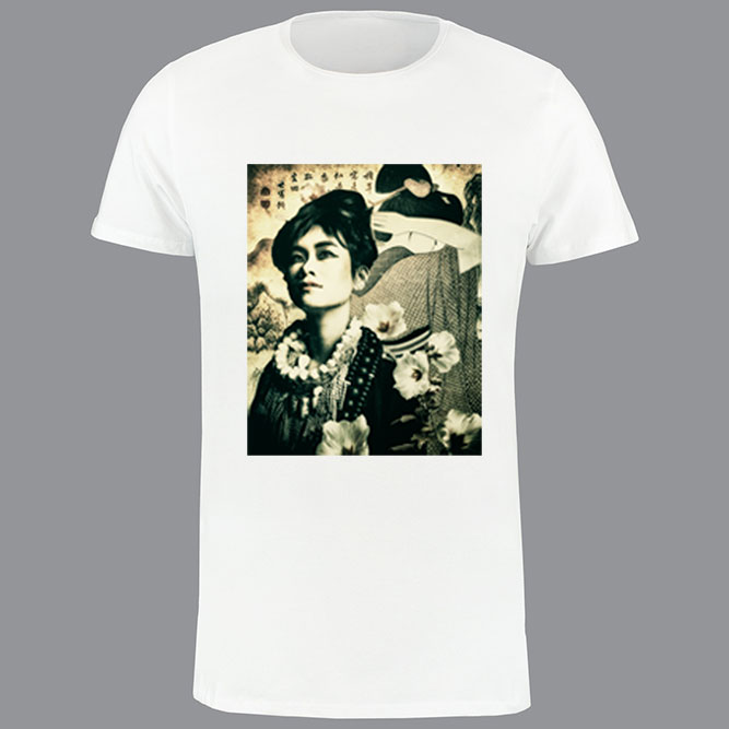 T-shirt heren, wit, geisha print-01