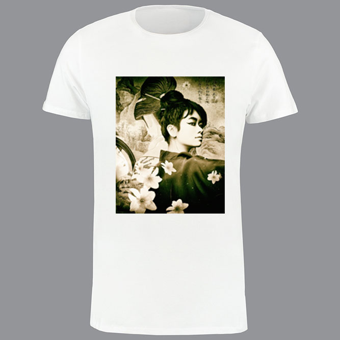 T-shirt heren, wit, geisha-02
