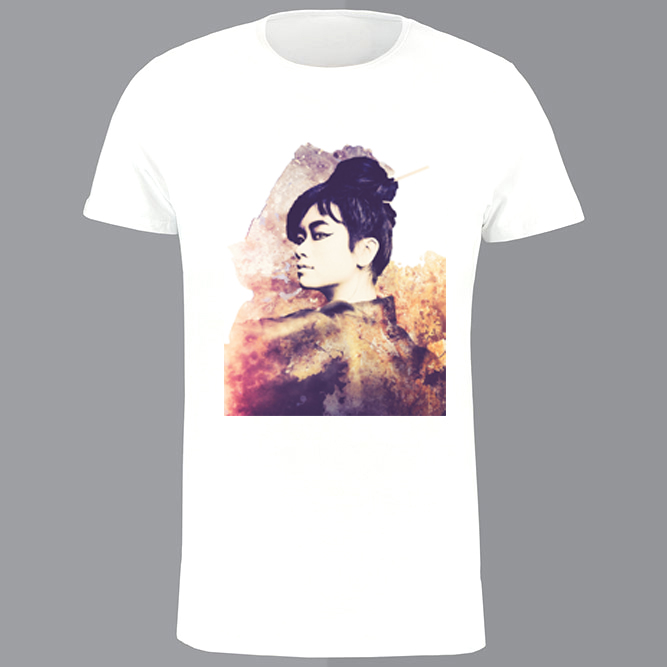 T-shirt heren, wit, Geisha retro