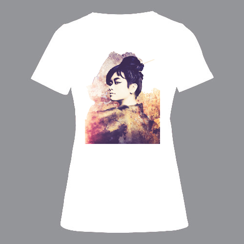 T-shirt dames, wit, Geisha retro