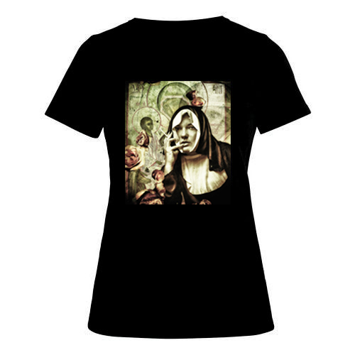 T-shirt dames, zwart, Nun-01