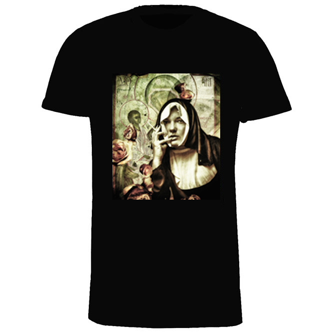 T-shirt heren, zwart, Nun-01