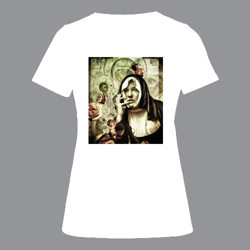 T-shirt dames, wit, Nun-01
